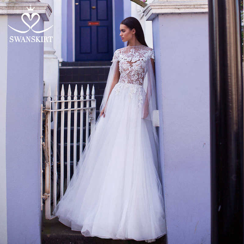 Swanskirt Sweetheart Wedding Dress 2019 Fashion Tulle Illusion 2 in 1 Court Train A-Line Bride Gown Princess Robe De Mariee I161