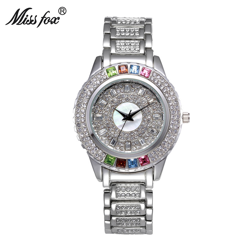 Miss Fox Brand Women Dress Watch Luxury Austrian Crystals Watch Gold Full Diomand Rhinestone Silver Bracelet Quartz Watches new arrival grace bs brand full diamond luxury bracelet watch hot sale women 14k austrian crystals watch lady rhinestone bangle