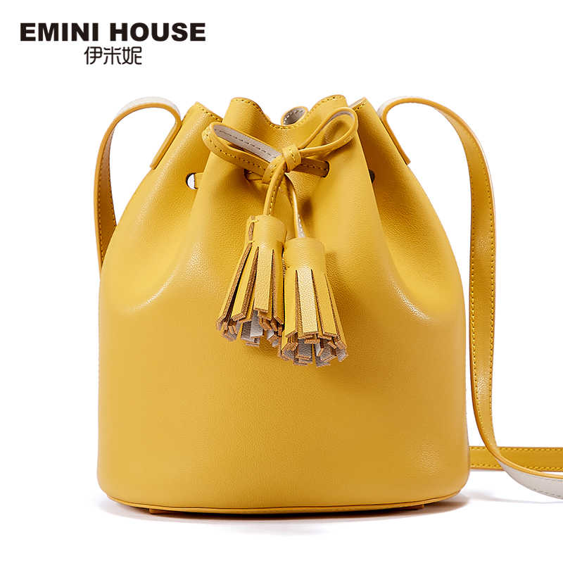 Mini casa tassel balde saco crossbody sacos para mulheres bolsas de luxo bolsas femininas designer split couro bolsa de ombro