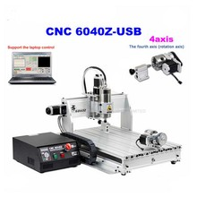 1pcs 4axis CNC Router 6040Z-USB Mach3 auto engraving machine with 1.5KW VFD spindle and USB port for hard metal