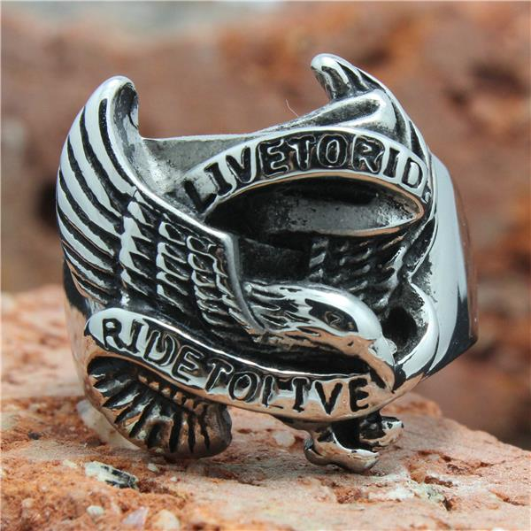 316L Stainless Steel Silver Biker Eagle Ring Mens Motorcycle Biker Eagle Band Party Ring Hot