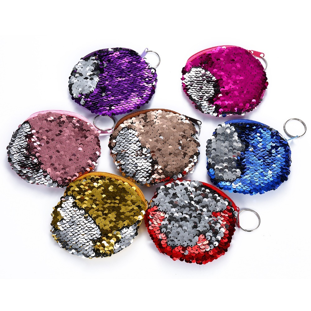 Фото sequines women coin purse pocket change wallet for girls round organizer earphone pouch portable cute childern zipper purse bags