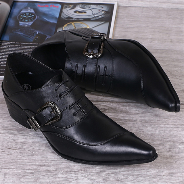 2017 New Black Pointed Toe Casual Men Leather Shoes Flats Lace Up Mens Autumn Wedding Dress Oxford Shoes Buckle Chaussure Homme