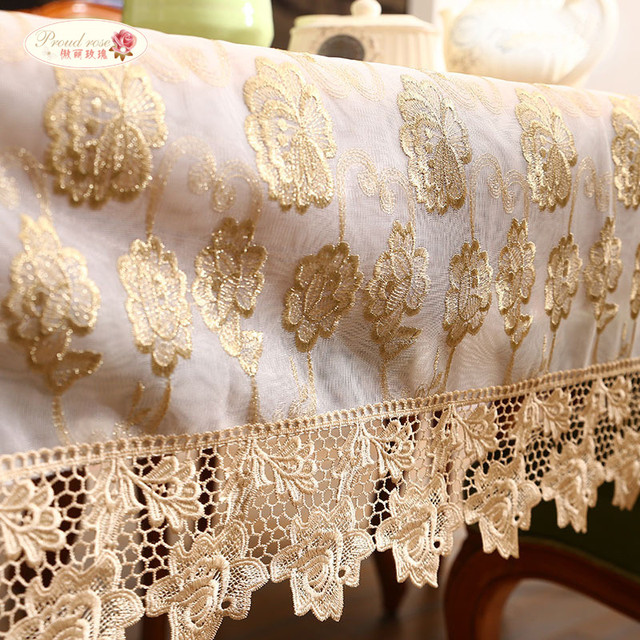 Proud Rose Golden Lace Tablecloth Embroidered Table Cloth Rectangular  Household Decor Tablecloths Table Cover For Wedding