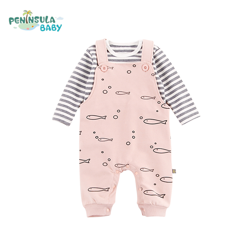 Fashion Dolphin Printing Baby Rompers Clothes Spring Tops+Pants 2pcs Boys Girls Long Sleeve Jumpsuit For Newborn Baby Overalls baby rompers 2016 spring autumn style overalls star printing cotton newborn baby boys girls clothes long sleeve hooded outfits