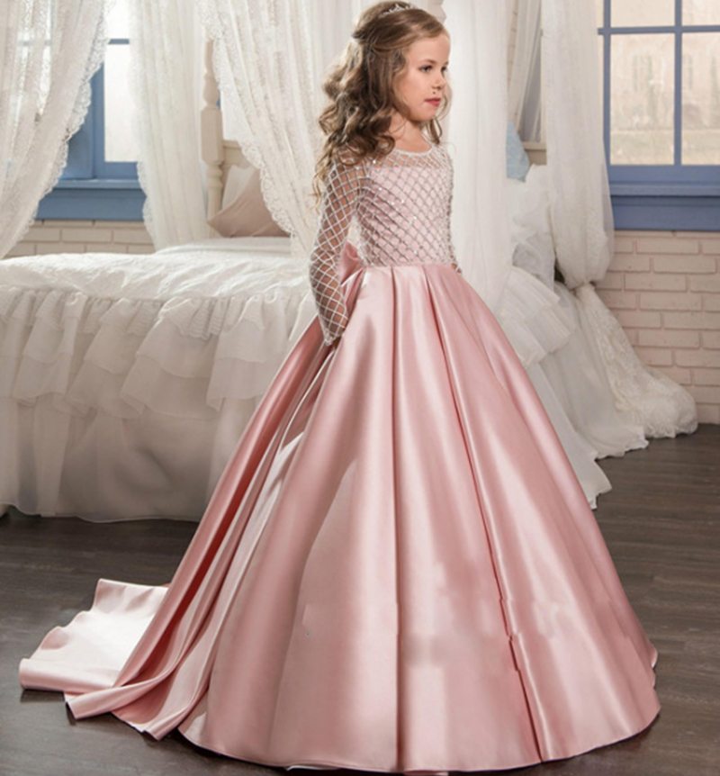 Long Sleeves Sheer Neck Pageant   Dress   for   Girls   With Bow Button Pink Satin Court Train Long   Flower     Girl     Dresses   for Weddings