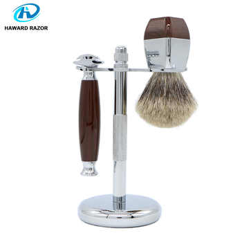 HAWARD RAZOR Classic Safety Razor With 100% High Quality Pure Badger Hair Shaving Brush Stand For Double Edge Razor - Category 🛒 Beauty & Health