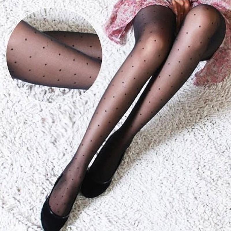 1 пара, женские сексуальные тонкие колготки, дамские Чулки вечерние женские Чулочные изделия в горошек, шелковые чулки до бедра, колготки больших размеров
