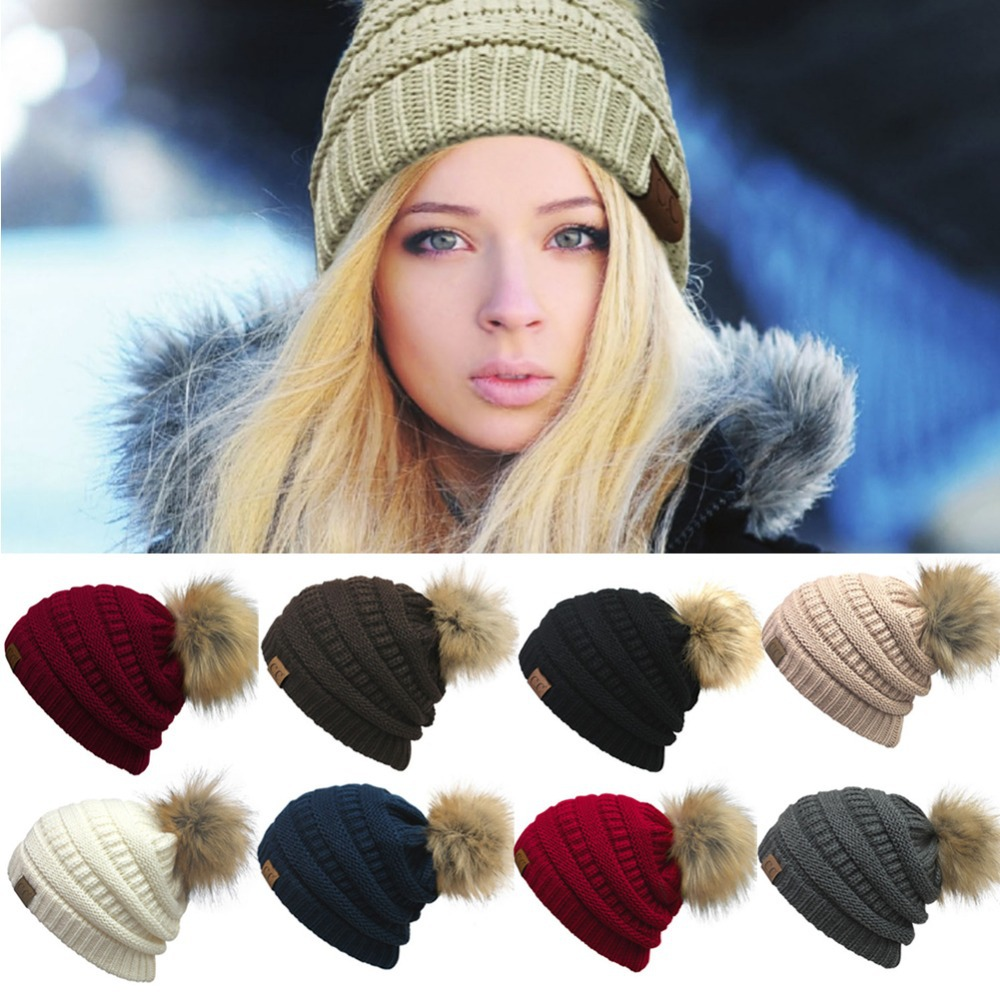 Fashion Winter Female Ball Cap Pom Poms Winter Hat For Women Girl 'S Hat Knitted Beanies Cap Hat Thick Women'S Skullies Beanies cute ball top winter hat for women girl s hat casual gorros bonnet knitted cap beanies cap female thick cap brand new fashion
