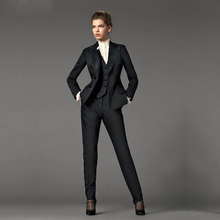 Jacket+Pants+Vest Design Black Women Business Suits Blazer Female Office Uniform 3 Piece Suit Ladies Winter Formal Suits