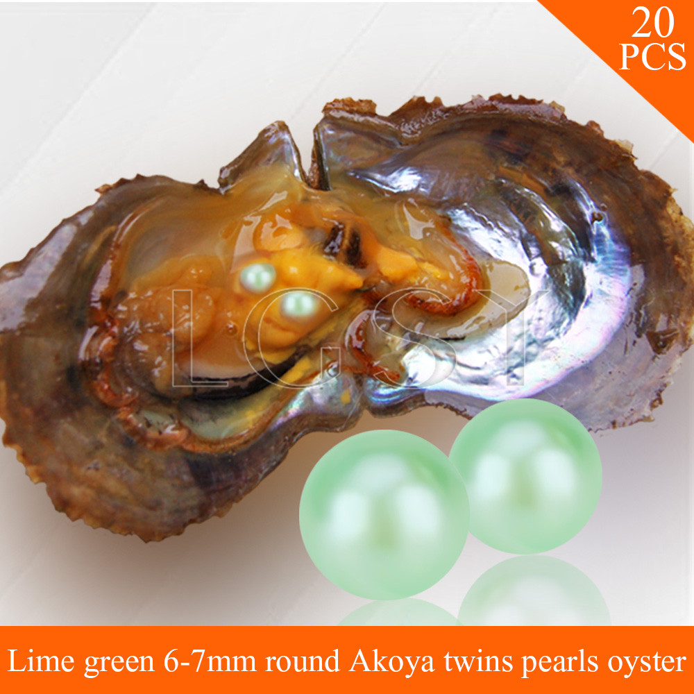 LGSY FREE SHIPPING Bead Lime Green 6-7mm round Akoya twin pearls in oysters with vacuum package for women jewelry making 20pcs free shipping bead bright purple 7 8mm round akoya twin pearls in oysters with vacuum package for women jewelry making 20pcs