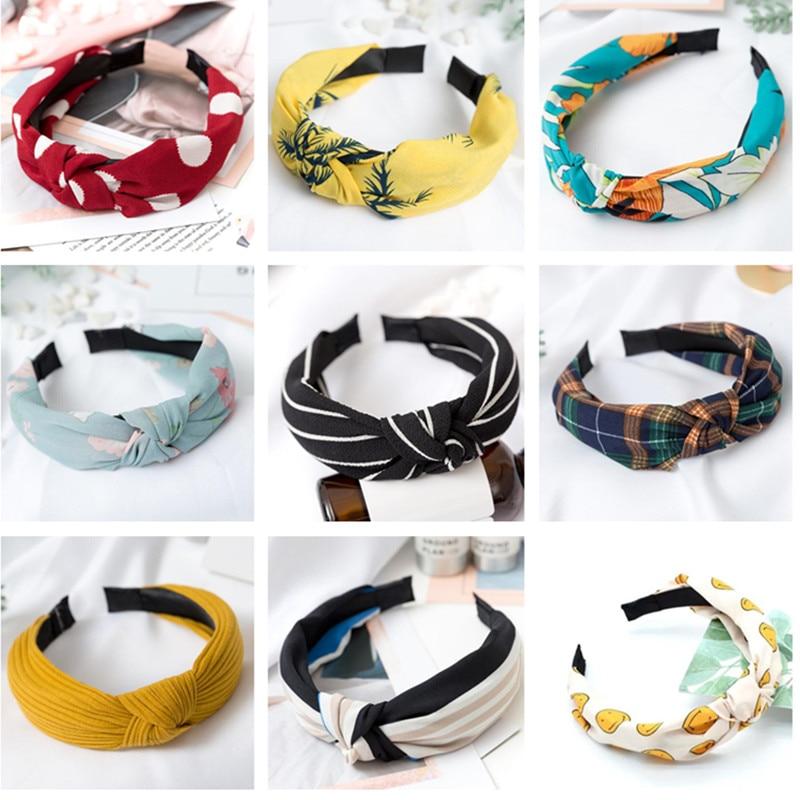 Yliquor Fashion Headbands Bow Knot Turban Hair Band Print Solid Women Hair Head Hoop Girls Headwrap Headband Accessories