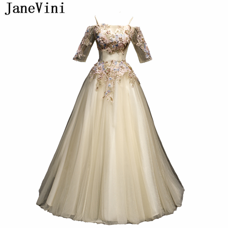 JaneVini Elegant Light Champagne Tulle Long   Prom     Dresses   Spaghetti Straps Appliques Beaded A Line Floor Length Women Party Gowns