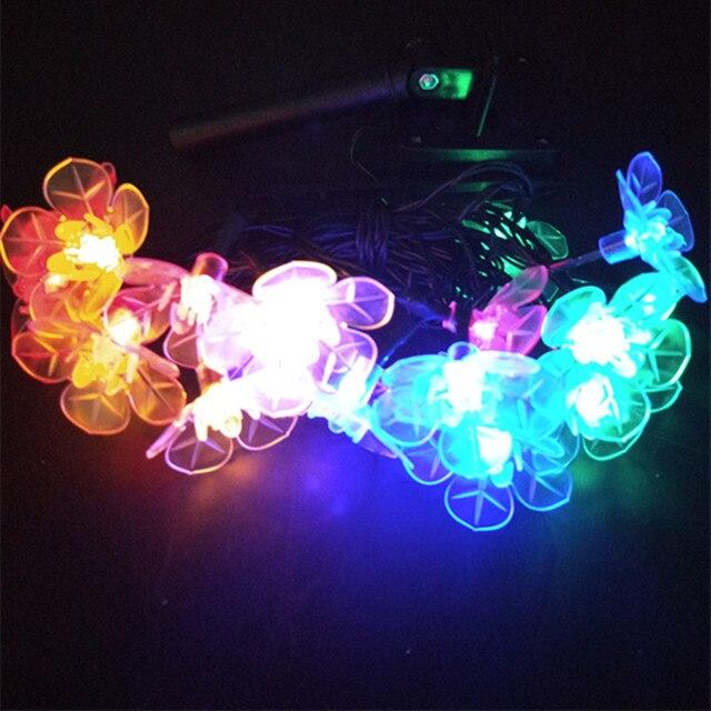 yiyang big peach flower solar lamp power led string christmas lights garlands garden summer outdoor decoration