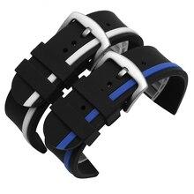 2016 Nuevos Calientes Negro Caucho de Silicona Watch Band Pulsera Extremo Recto 20mm 22mm 24mm Hebilla Impermeable Libre gratis