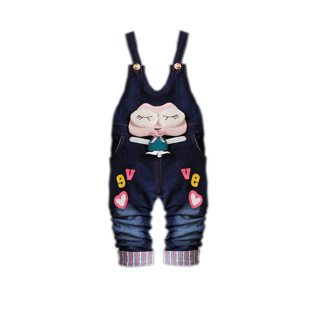 Roupas Crianças Desgaste Do Bebê das crianças Calças Menina Lolita Estilo Digital Denim Botão Voar Roupas Meninas Do Bebê Calça Jeans Arco