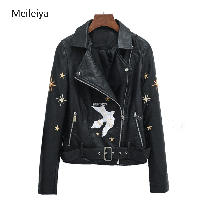 2019 Industry Embroidery Women's PU   Leather   Coat Spring Autumn Belt PU   Leather   Jacket Repair Locomotive   Leather   Jacket