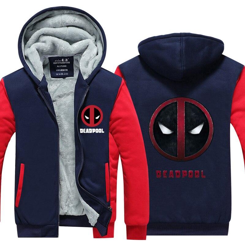 Brand New Men Deadpool Fight Spidermen Hoodies Sweatshirt Winter Fleece Unisex Thicken Jacket Zipper Coat Clothing Gift USA Size