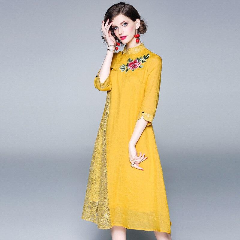 Femmes Mandarin Pour Floral Élégant Broderie Robes Jaune Robe Printemps Trimestre 2019 Femme Trois Manches Col Cheongsam Jolie xPwqOHUAX