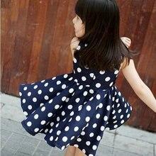 Детские платья для девочек шифоновое плиссированный сарафан в горошек платье с поясом, украшенное бантом для длинная рубашка для девочек для маленьких принцесс Fille 2-6Y18