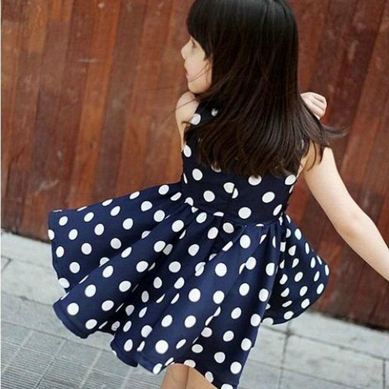 Vestidos para niñas Chiffion Polka Dot vestido veraniego plisado Bowknot cinturón vestido para niñas Robe Princesse Enfant Fille 2-6Y18