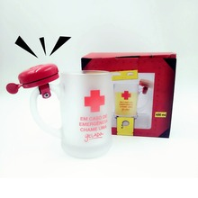 Bell Ring Mugs Glass Transparent Thick Coffee Beer Mug with Fashion use in Summer Gift Souvenir