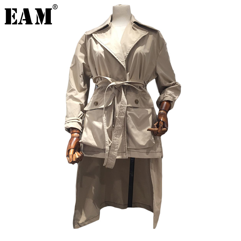 [EAM] 2019 Новый Осень Зима Женская мода прилив сплошной цвет Turn-Down Воротник с суженной талией на шнуровке Асимметричная Длина пальто LC010