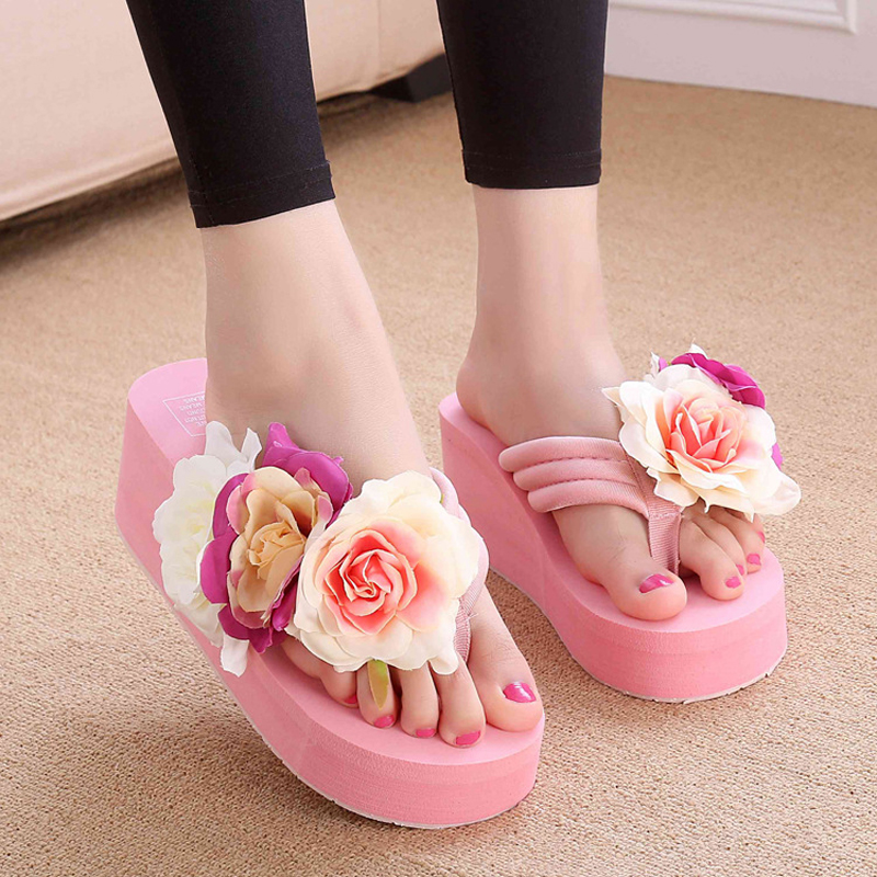Summer EVA Handmade Slippers Women Wedges Flip Flops with Floral Ladies Beach Holiday Platform Sandals High Heel Female Slides цена 2017