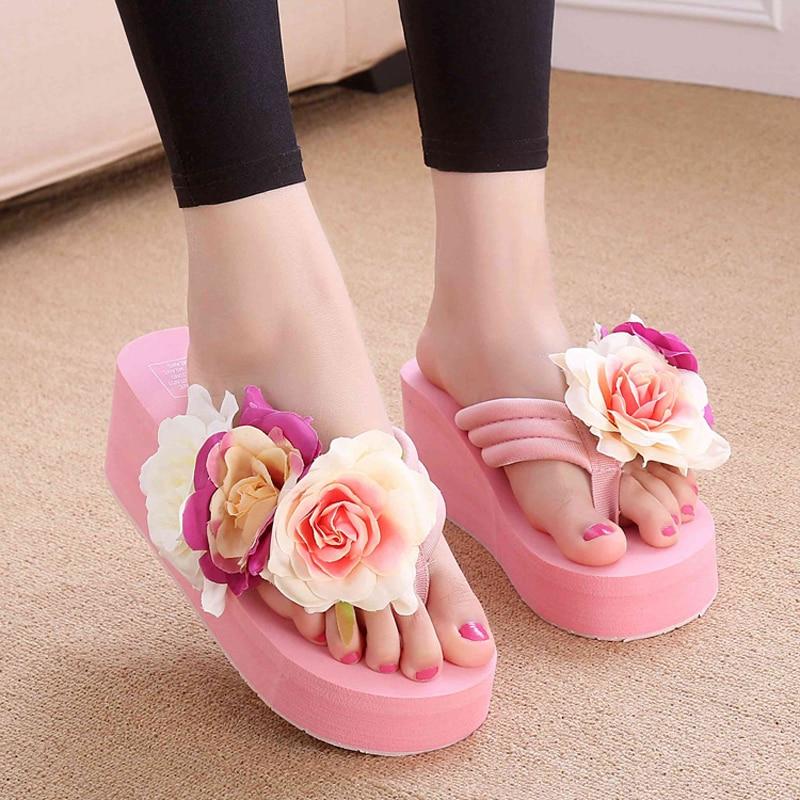все цены на Summer EVA Handmade Slippers Women Wedges Flip Flops with Floral Ladies Beach Holiday Platform Sandals High Heel Female Slides онлайн
