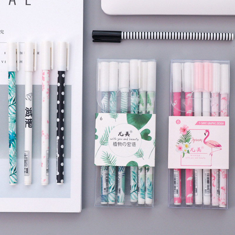Coloffice 6PCS/Set Korean Cartoon Flamingo Cactus Stationery Simple Small Fresh 0.5mm Black Ink Gel Pen School Office Supplies