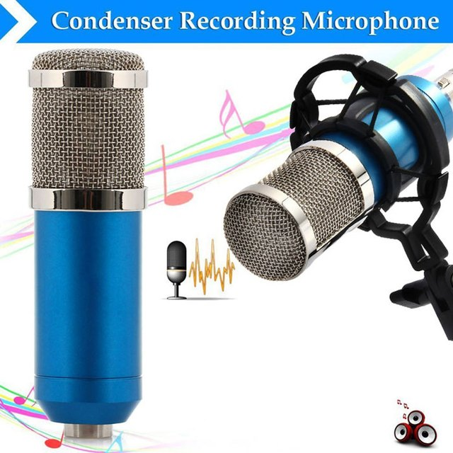 BM-800 Blue Condenser Microphone Sound Recording Microfone With Shock Mount Radio Braodcasting Microphone For Desktop Computer