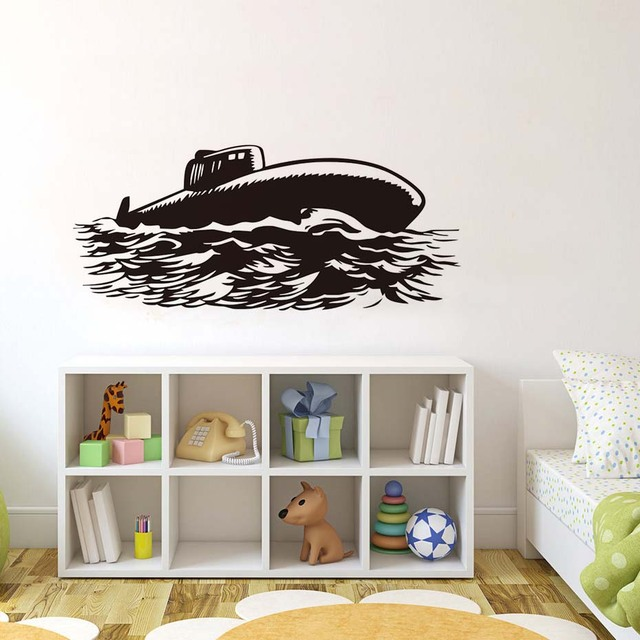 DCTOP Huge Waves Submarine Wall Stickers Navy Military Ship - Vinyl wall decal adhesive