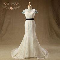 Real Photo Short Sleeves Chantilly Lace Mermaid Wedding Dress With Black Sash Low V Back Destination