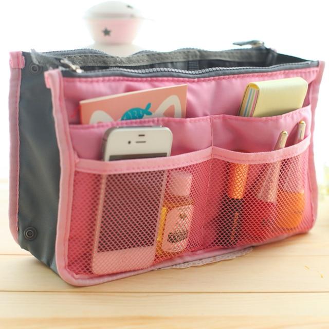 2015 Hot Sell Large Dual Organizer Mp3 Phone Travel Cosmetic Bag Book Storage Nylon Bag Handbag Purse 12 Colors