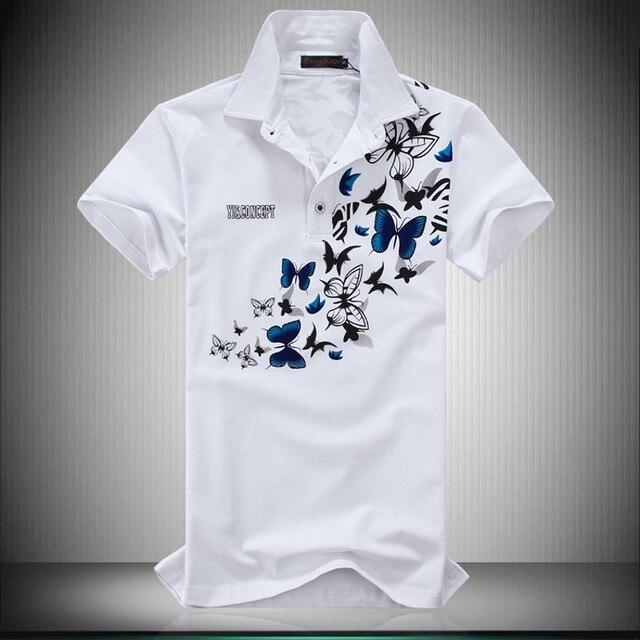 Твердые рубашки поло 2016 новый летний короткие рукава рубашки поло мода бабочка печать slim-подходят Большой размер 6XL 5XL-M поло Homme горячая