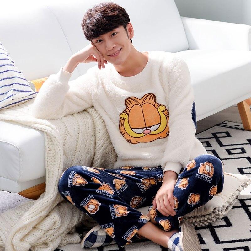 Quality Winter Flannel Warm Long Men's Pajama Sets Thicken Men Sleepwear Coral Fleece Cartoon Sleepwear Fashion Male Loungewear