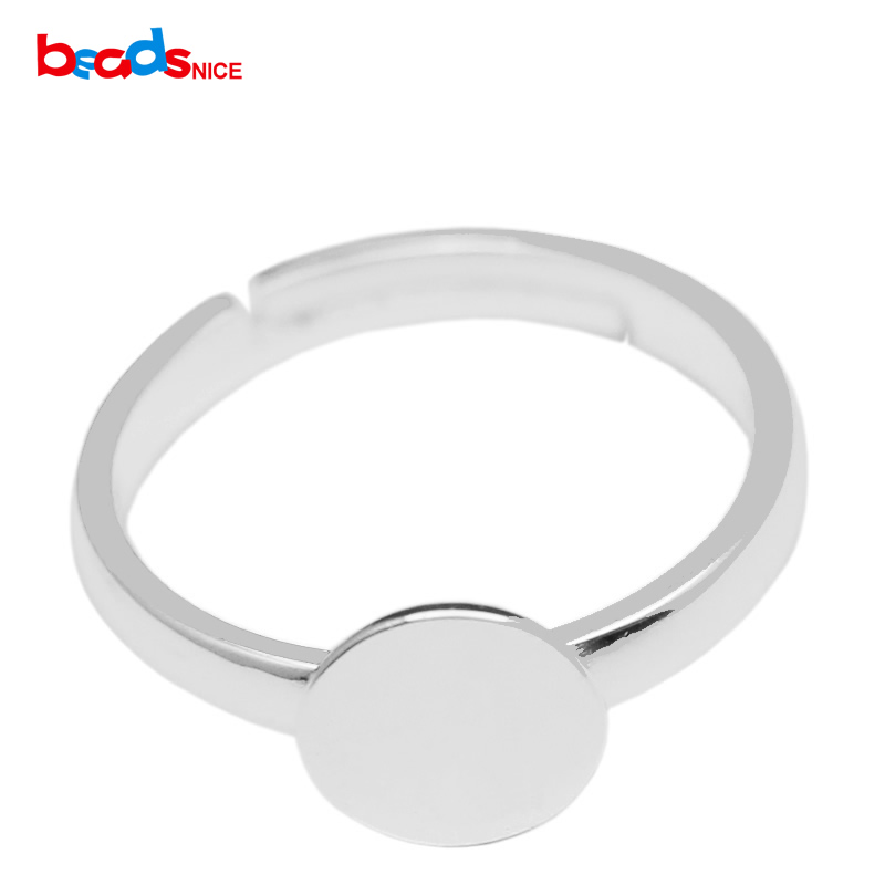 Beadsnice 925 Sterling Silver Ring Blank With Silver Ring Base With 8mm / 12mm Glue Pad On Adjustable Ring For DIY ID16697