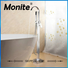 Free Standing Floor Mounted Bathtub Faucet Tap Set & Hand Held Shower Tub Faucet