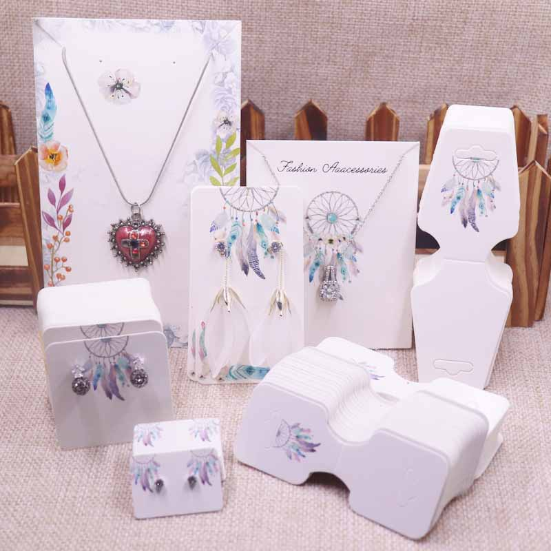 NEW Diy 100PCS  Jewelry Set Package Cards Paper Necklace/bracelet/hair Ornaments Display Tag Card Stud/drop Earring Tag Cards