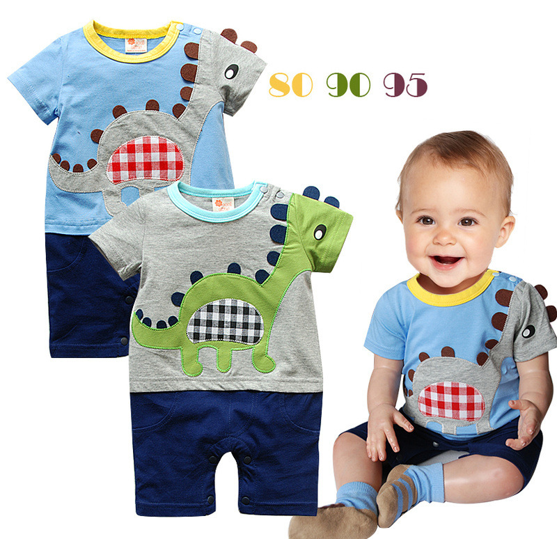 2016 Summer romper Baby boys dinosaur styler shorts sleeve baby boy clothes 100% cotton jumpsuit