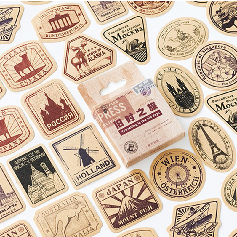 46 Pcs/pack Vintage Travelling Adhesive Stickers Decorative Album Diary Stick Label Decor Stationery Stickers
