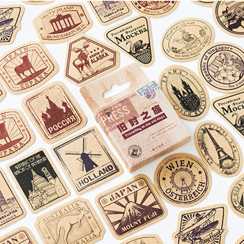 46 Pcs/pack Vintage Travelling Adhesive Stickers Decorative Album Diary Stick Label Decor Stationery - discount item  10% OFF Stationery Sticker