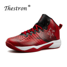 Thestron New Boys Basketball Shoes Comfortable Sneakers Men Brand Red Blue Male Training High Top Sneaker