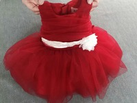 Real Photo Red Christmas Dress Vestido Marinheiro Menina Baby Girls Lace Dress