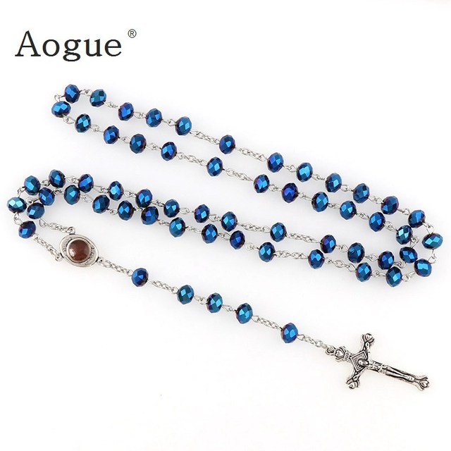 Deep Blue Crystal Beads Rosary Catholic Necklace Holy Soil Medal & Crucifix f9NKDPv