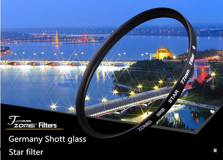 Professional Zomei 67mm 4 Line Star Filter ND Fitlers Evening Photos Shine Light FiIters Lens for Canon Nikon Sony Camera Lens