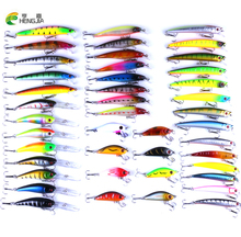 HENGJIA 43pcs/set mixed Fishing Lure Set 43 Catfish Minnow Fishing Tackle Artificial Fish Popper Plastic Hard Bait Supplies