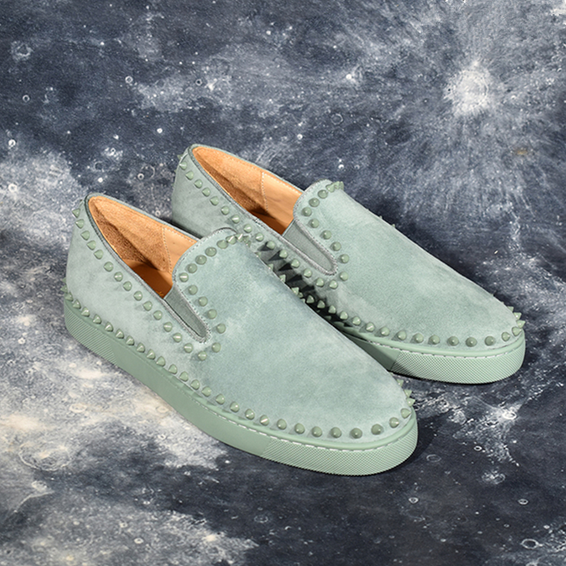 Suede Leather Pattern Flats Men Studded Spikes Red Thick Sole Loafers Male Round Toe Slip On Casual Shoes Rivets Green Shoes 48
