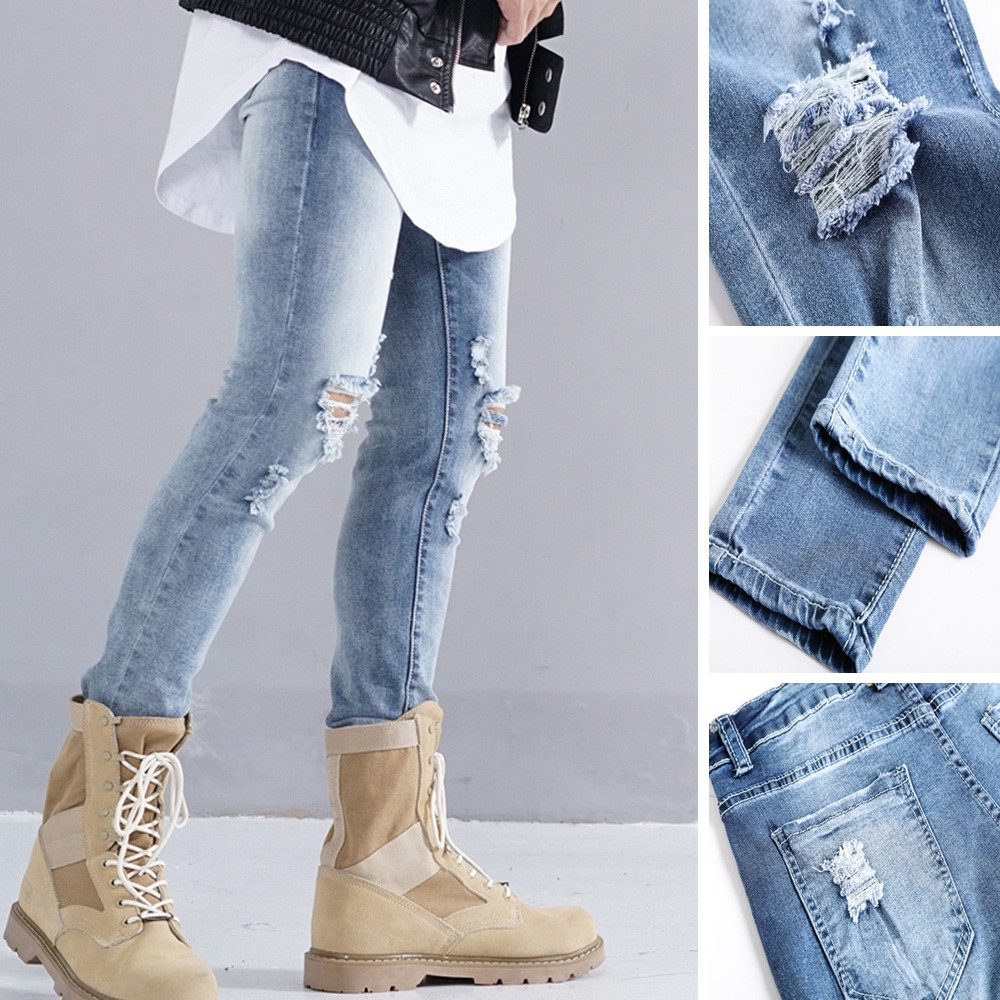 2019 NEW Men's Pants Punk Style Personality Mouth Zipper Pure Skinny Mid-rise   Jeans   Pencil Pants Pants 3.19