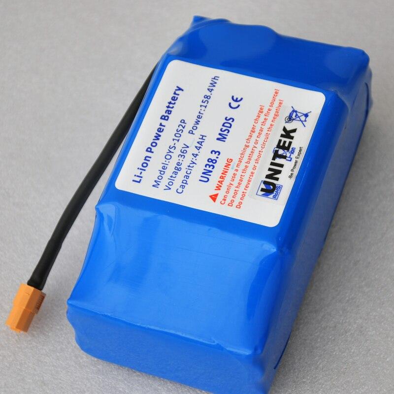 Batterie rechargeable li-ion 36 V 4400 mah 4,4ah cellule lithium-ion pour monocycle de véhicule scooter auto-équilibré électrique